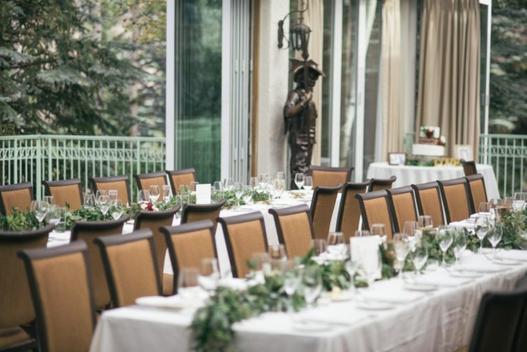 Wedding reception room with tables and chairs