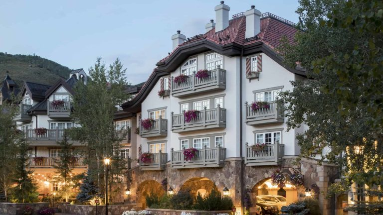 Sonnenalp Hotel facade with balconies and entrance to parking