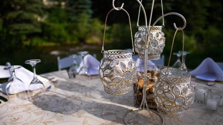 candle holder on table outdoors