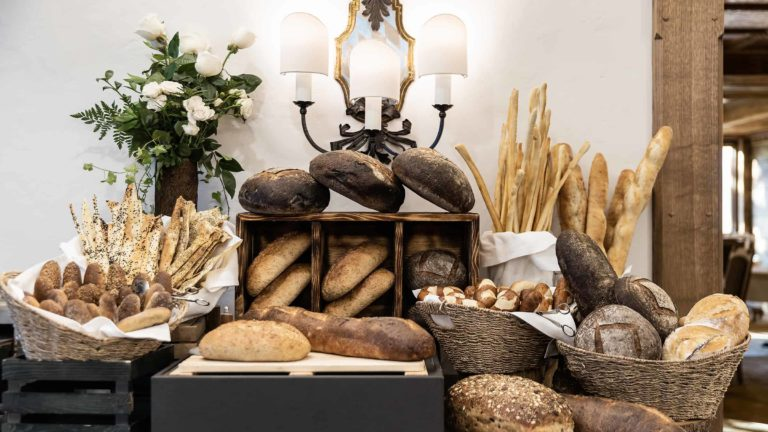 Assortment of European breads on table