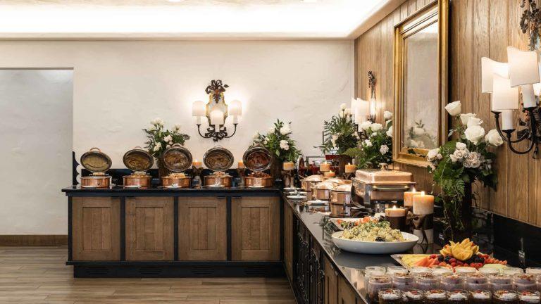 Buffet tables inside dining room