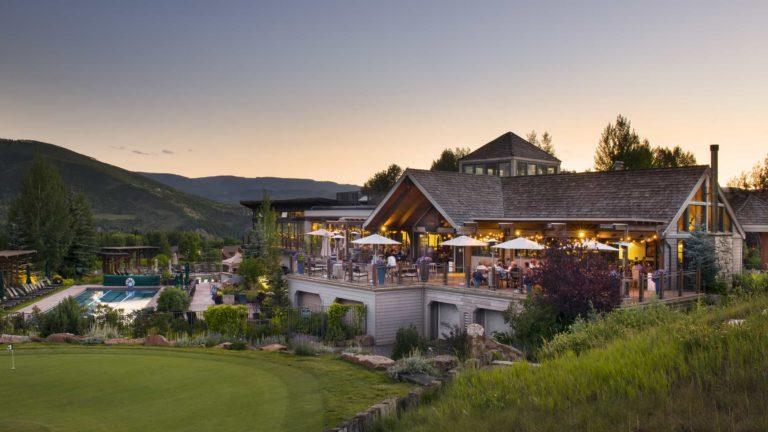 Harvest Club terrace at dusk