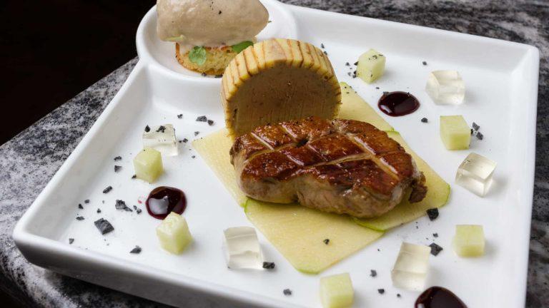 Plate with trio of foie gras