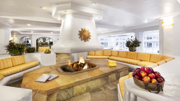 spa fireplace surrounded by seating areas