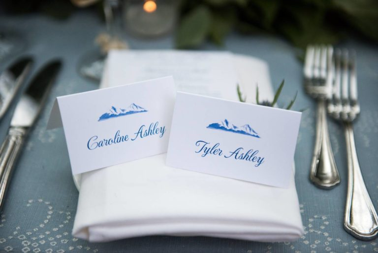 Closeup of placesetting with name cards