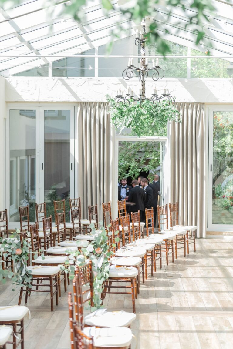 Wedding ceremony area with chairs arranged in rows