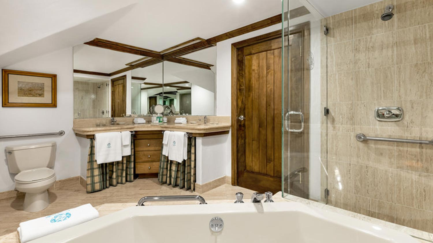 Bathroom with double sink, and tub and showers with handlebars