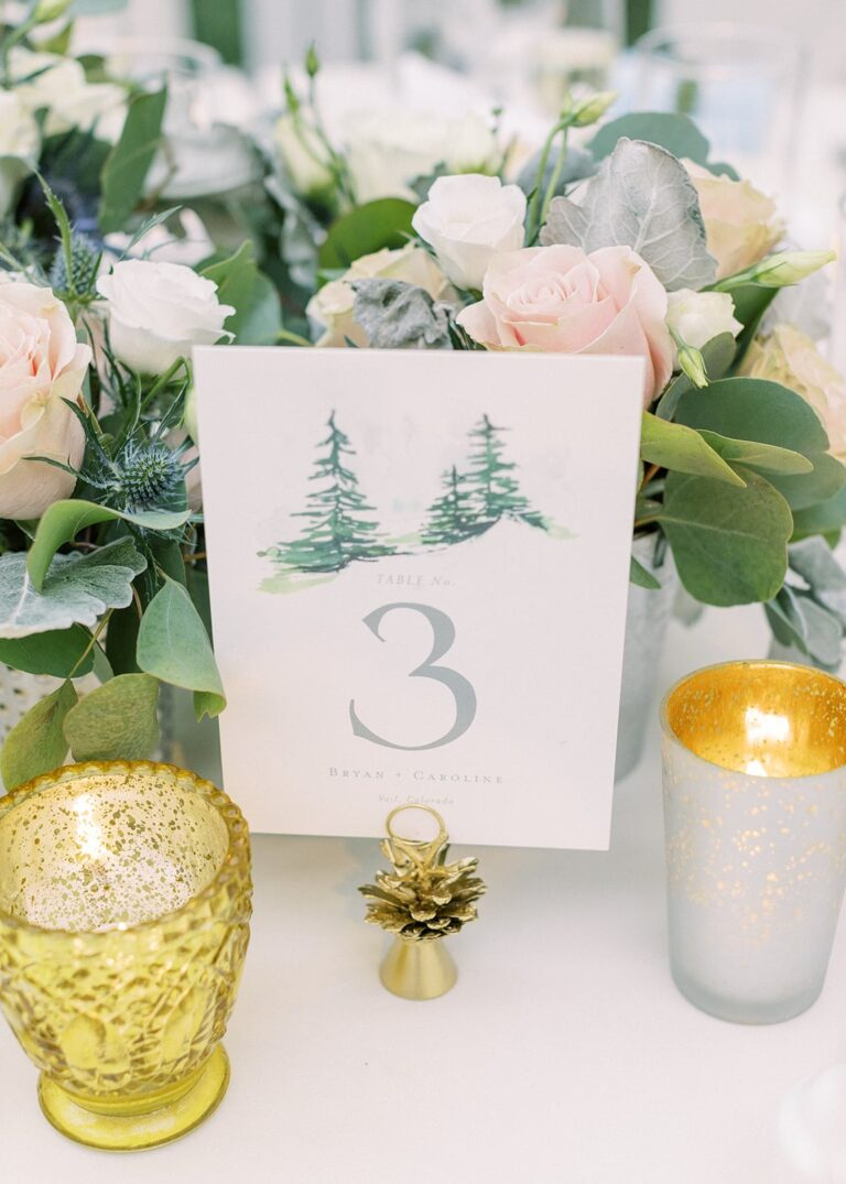 Closeup of place card, candles, and floral place setting
