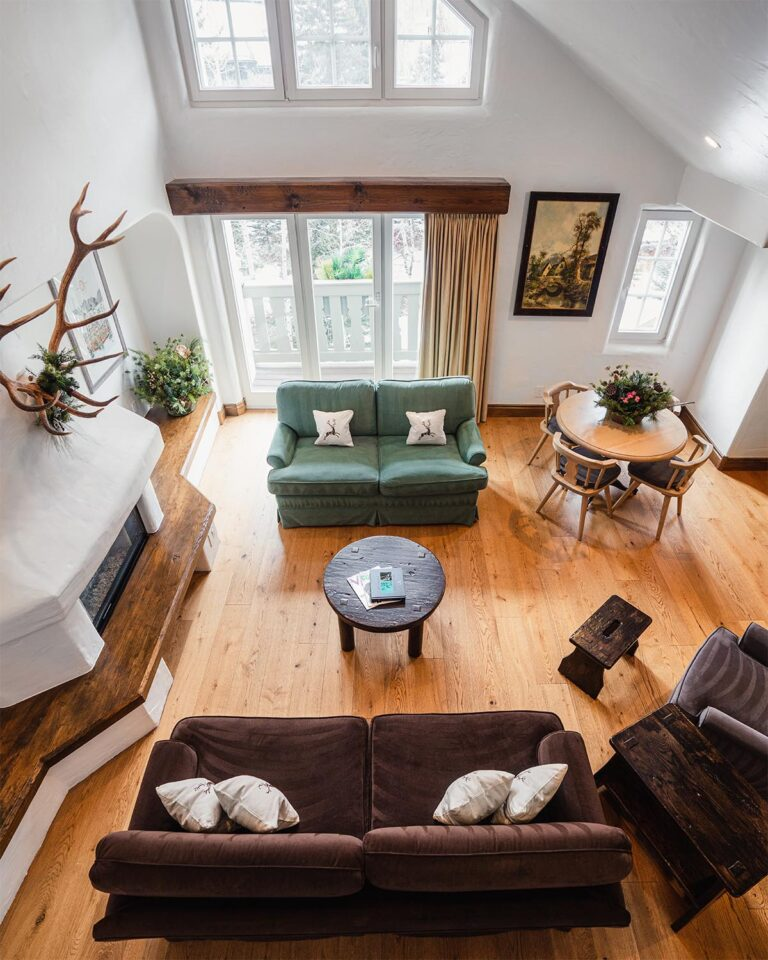 Overhead view of living room sitting area with hardwood flooring, sofas, table with chairs, and fireplace