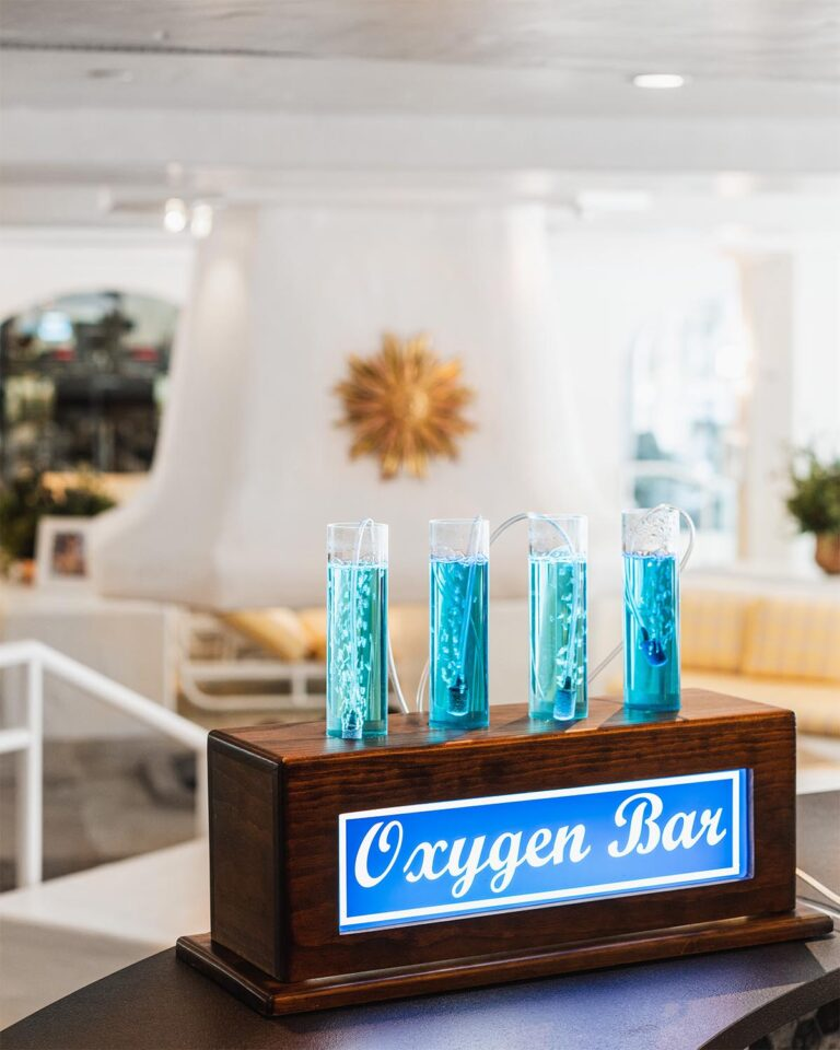 Oxygen bar equipment, spa seating area in the background