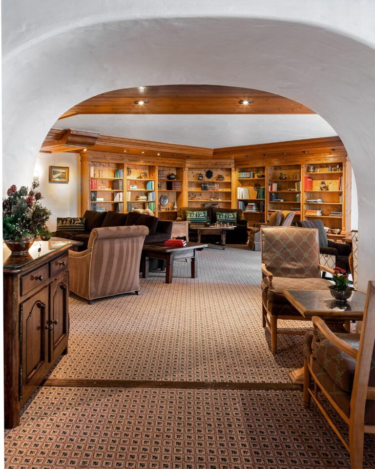 Lounge area with cabinet, chairs, tables, sofas, carpeted floor, and recessed bookcase and shelves in the background