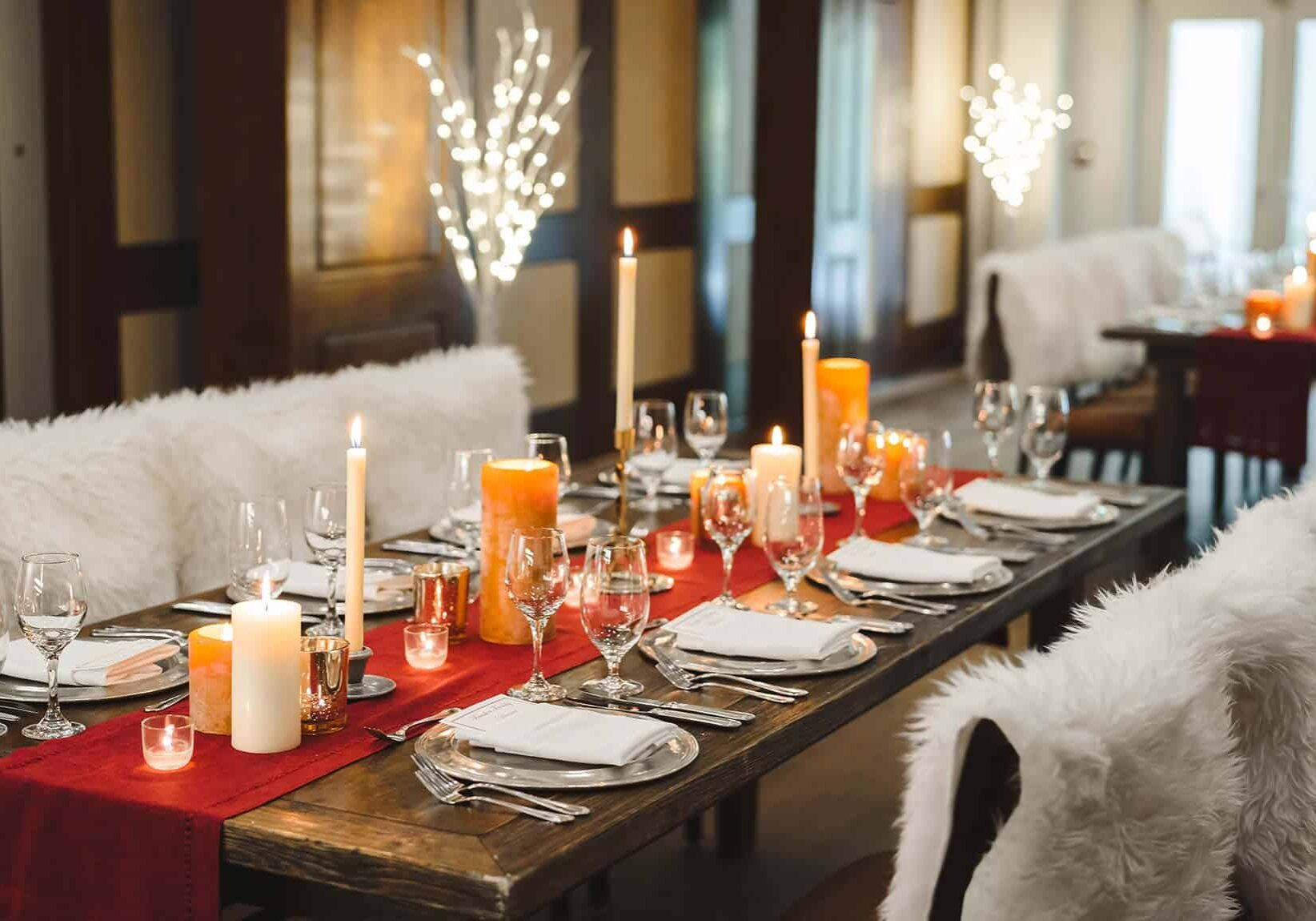 Allgau restaurant tables with placesettings and candles
