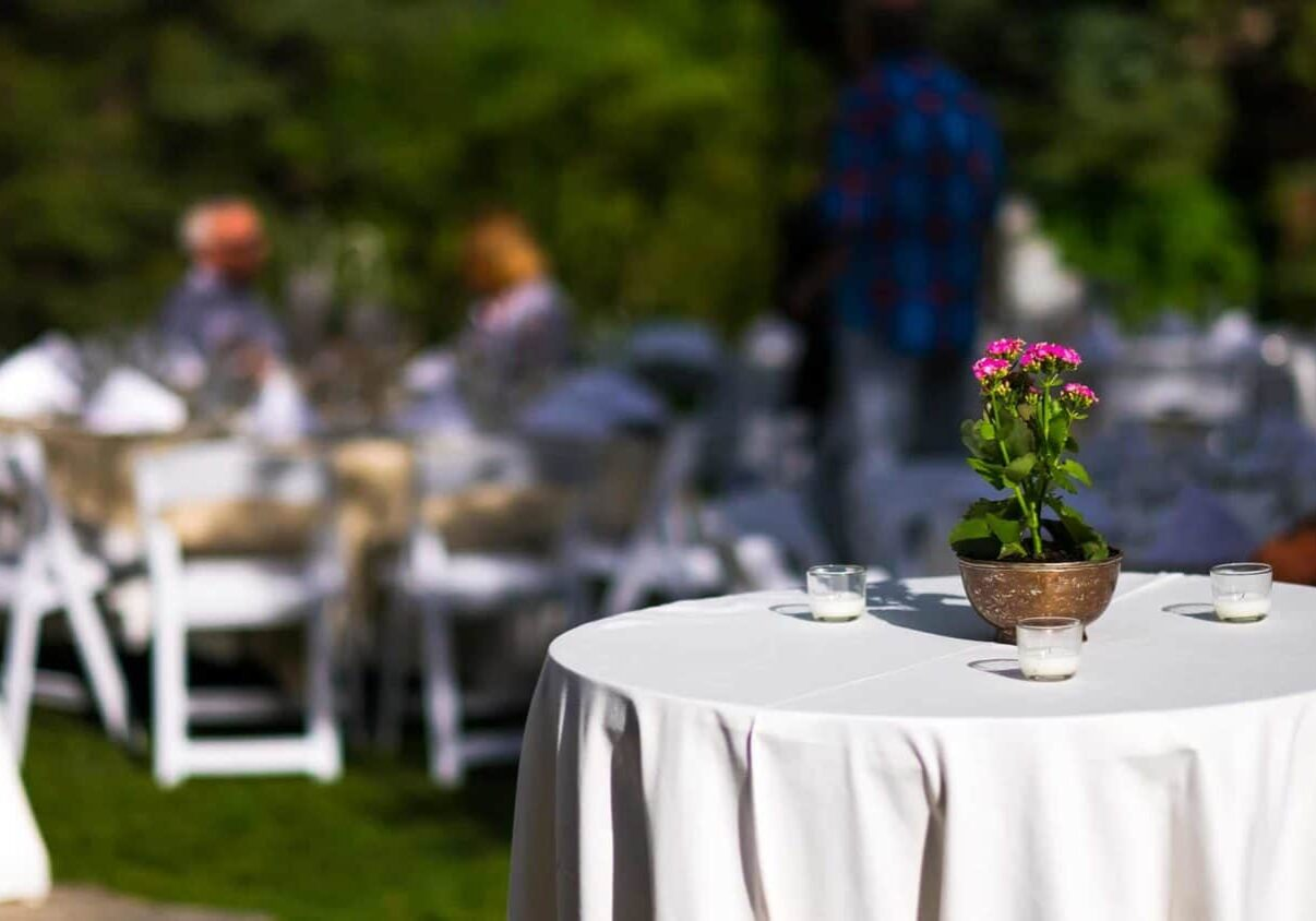 Cocktail table outdoors with flower plant and candles